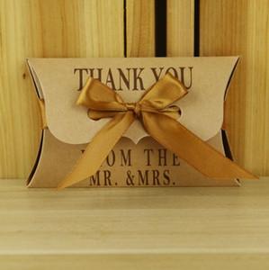 DIY kraft almohada caja de regalo caja de regalo caja de regalo para galletas dulces con cinta para la fiesta de bodas fiesta de cumpleaños de navidad suministros