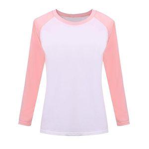 Wholesale- 2016 Autumn Korean Rosa Art-Frauen-T-Shirt mit Raglan Sweatshirt Langarm Damen Bekleidung Tops T-Shirts für Frauen EXO