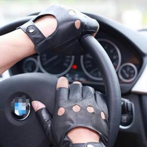Pele de carneiro Conduzindo Semi-dedo Luvas de Couro Genuíno Ativo Preto Motorista Semi-dedo Luvas para o Dia Dos Pais Presente Mens