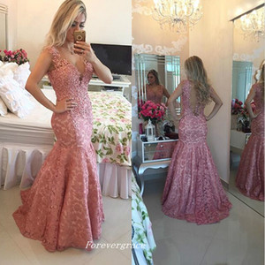 Free Shipping Pink Colour Mermaid Long Evening Dress Sexy V Neck Fashion Back Sheer Lace Women Wear Special Occasion Party Gown Plus Size