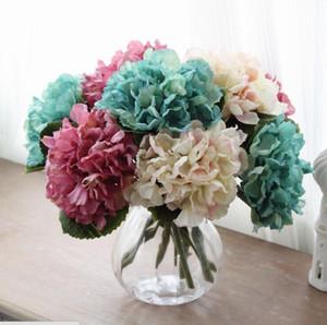 35см Искусственного цветок гортензии Поддельного шелк Single Гортензия 6 цветов для свадебного Centerpieces Главных партий Декоративных цветов
