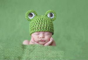 Bebê dos desenhos animados Chapéus Handmade Infantil Bonés Recém-nascidos Fotografia Adereços Crochet Cap Malha Unisex Meninas Meninos Sapo Chapéus G826