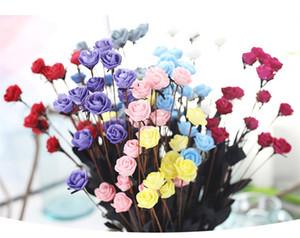 Decoración de la boda Flor PE Fake Rose 1 Ramo 15 Cabezas Vintage Artificial PE Flower Ramo nupcial de la boda