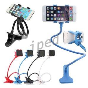Brazo largo Universal Dos Clips Moblie Soporte para teléfono Cama Escritorio Moblie Stand 80 cm Flexible Extensible Lazy Bracket 360 grados Envío gratis