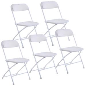 Новый набор из 5 пластиковых складных стульев Свадьба Событие Стул для событий Коммерческий белый