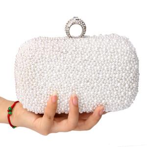 Wholesale- Women Bag Two Side Beaded Women's Pearl Clutch Evening Bag Beaded Handbag Beige White Pearl  Clutch Bag Shoulder Mini Bags