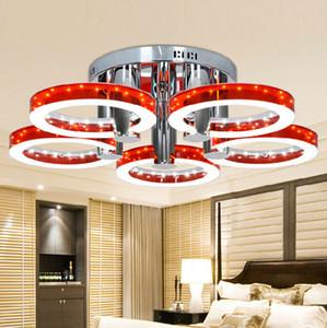Lámpara de techo moderna SMD LED acrílica redonda de 5 anillos 4 colores luminarias de teto plafons LED para sala de estar dormitorio iluminación interior
