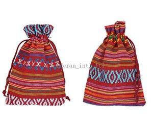 10 * 14cm de algodón estilo tribal Nacionales bolsos de lazo bolsa de impresión bolsa del regalo bolsas de regalo del paquete de energía móvil arpillera saco de arpillera bolsas