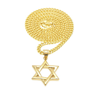 Hombres Mujeres Gold Star of David Collar Hip hop Punk Style Classic Six-pointed Hexagram Colgante Necklace Chain Jewelry