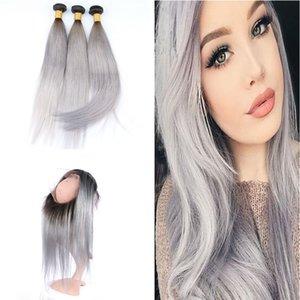 Ombre # 1B Paquetes de cabello gris con banda de encaje frontal 360 Fractura de raíz oscura frontal Extensión de cabello gris recto con pre arrancó frontal 360