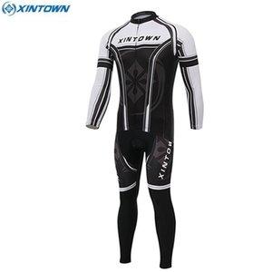 XINTOWN 사이클링 운동복 빠른 드라이 윈드 가드 따뜻한 자전거 긴 소매 직업 Mtb 자전거 옷 셔츠 긴 바지 통기성이있는 턱받이 세트