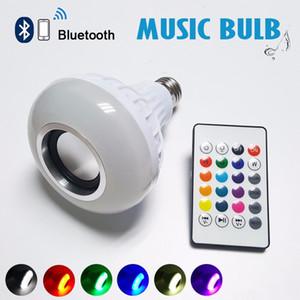 Беспроводная мощность 12W E27 светодиодный RGB Bluetooth-динамик лампочки лампы лампы лампы воспроизведения RGB освещение с дистанционным управлением