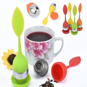 Folha de chá de silicone de Silicone Infusor com Produto Comestível fazer filtro de saco de chá de aço inoxidável Criativo Cilindros de Chá IC577