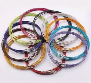 100 unids / lote Color de la Mezcla de 18 pulgadas de Acero Inoxidable Collar de Cable de Alambre Para DIY Artesanía Resultados de la Joyería Componentes W7 * Envío Gratis