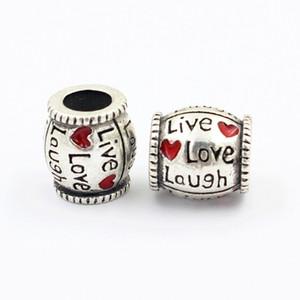 Forma risa viva del amor 925 Corazón rojo del caramelo del encanto del grano de la bola del collar de Europa Fit Pandora pulsera accesorios originales