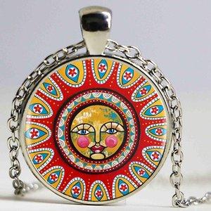 Folk Art Full Moon Heartshaped Collana placcata in bronzo placcato Folk Art Full Moon Fascino Collana Vintage Gioielli da donna Uomo regalo