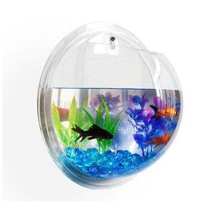 2017 Acrílico Tanque De Peixes Pendurado Na Parede do Aquário Suprimentos Pet Vaso Planta Tanques De Peixes Aquários Piscine Hemisfério Decoração Da Parede