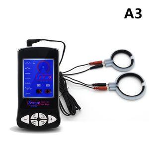 의료 테마 키트 1 세트 2pcs 페니스 링 수탉 링 글란 링 전기 충격 호스트 및 케이블 전기 충격 자극 장난감 I169