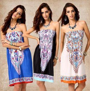 Yaz Kadın Elbiseler Baskı Pamuk Rayon Polyester kız Bohemian Straplez Sarılmış Göğüs Bel Plaj Elbise