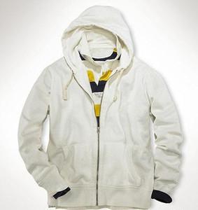 American Brand Design Mens Polo Hoodies Small Horse Solid Sweatshirts man Coats Casual hoodies Winter Cardigan Jacket White Gray M-XXL S-XXL