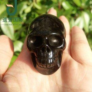 Güzel doğal siyah obsidyen taş kafatası ev docoration Tılsım kullanımı kuvars kaya kristal kafatası kristal şifa