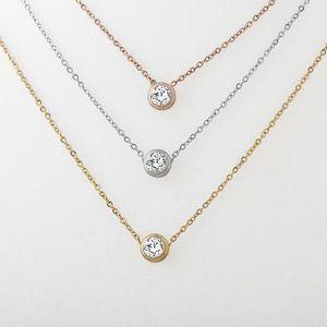 All'ingrosso 2017 gioielli di moda in acciaio inox Oro Argento Rosa ha placcato il singolo diamante solitario per le donne Collana
