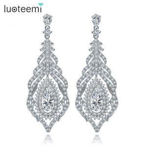 LUOTEEMI Fashion Big Long Drop Earrings Elegant Vintage Alloy Women White Gold-Color Bohemian Pierced Dangle Brincos для женщин
