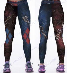 Red Harleen Quinzel Rugby Baseball Training Pantaloni Harley Quin Yoga Workout Pants Blu Running Leggings Women Fitness Tights