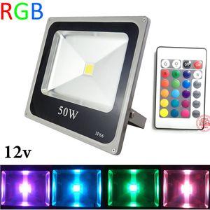 RGB LED FloodLight 10W 20W 30W 50W LED الأضواء الخارجية 12V LED عاكس الضوء في الهواء الطلق بقعة الكاشف + 24 مفتاح التحكم عن بعد