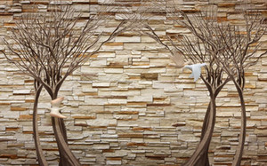 Photo sur mesure toutes tailles HD arbres Flying Bird Toile de fond TV 3D murale mur 3d fond d'écran papier peint 3D pour toile de fond tv