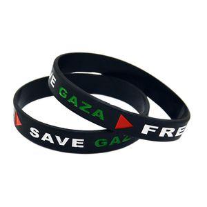 1PC Triangle Logo Palestina livre Salvar Gaza Silicone Rubber Bracelet Por Organização Preto e Branco Adulto Tamanho