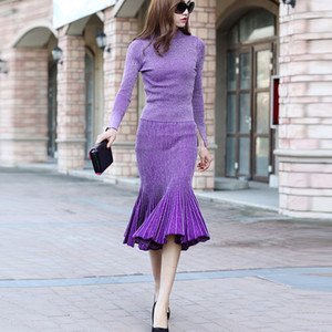 Wholesale- HIGH QUALITY New 2016 Winter Fashion Designer Runway Suit Set Women's Knitting Sweater Gradient Color Mermaid Skirt Set