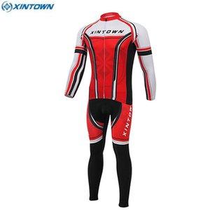 XINTOWN 팀 MTB 자전거 저지 롱 슬리브 탑스 자전거 턱받이 바지 승마 복장 스포츠 직업 사이클 레이싱 착용 스포츠웨어