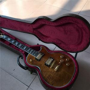 Atacado de alta qualidade guitarra elétrica na cor marrom com marrom hardcase, pode ser enviado rapidamente, venda quente de guitarra