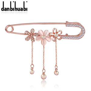 Wholesale- Hijab Pins Rose Gold plated Safety Pin Brooch Fashion  Rhinestone Men Brooches For Suit Scarves Corsage Sweater Collar
