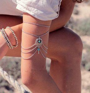 Mulheres Gota Azul Turquesa Braço Cadeia Cuff bracelete Armband praia Braceletes jóias Muti cadeia de borla cadeias corpo Pulseiras Bangles