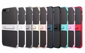 Viajante do telefone móvel shell stent fibra de carbono 2 em 1 tampa de proteção contra queda para o iphone 5 / 5S 5se 6/6 s 6 plus / 6 splus 7 7 plus samsung s6 s7 borda