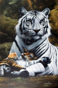 Framed White Tiger Mother Baby Cub Big Cats,Genuine Handpainted Animal Art oil Painting On Thick Canvas Museum Quality Multi sizes J040