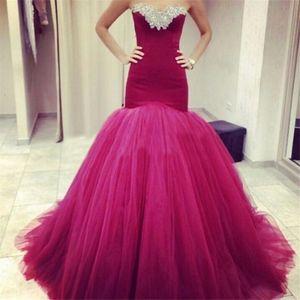 Frauen Arabisch Strapless Weinrot Lange Nixe-Abschlussball-Kleid-Partei-Kleid Tulle-formale Kleider schnüren sich oben Abendkleider