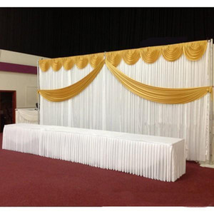 Wedding Backdrop Curtain Swags Gold Drape Luxury Silk Wedding Props Satin Drape Curtain Party Decoration Wedding Favors
