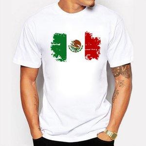 멕시코 국기 남성용 T 셔츠 인쇄 100 % 코 튼 반팔 TopTee O- 넥 T- 셔츠 남성 의류 화이트