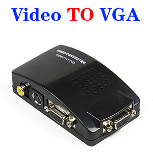 VGA в AV RCA конвертер адаптер распределительная коробка для портативных ПК TV Monitor S-video Signal поддерживает NTSC PAL системы DHL бесплатно OM-CG8