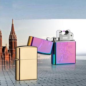 아크 라이터 금속 USB 충전식 무 화염 전기 전자 아크 방풍 시가 담배 라이터 스타일 패션