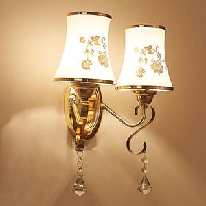 La nueva lámpara de pared de cristal LED contrajo y contemporánea lámpara de cama de estilo chino lámpara de dormitorio de estudio creativo escalera lámparas de pasillo y la