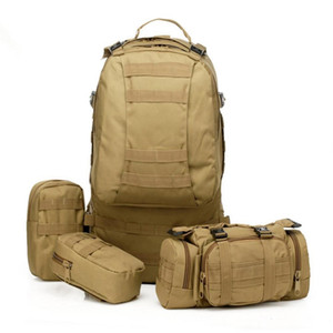 Nueva llegada 50L Molle Tactical Assault Mochilas Militares Al Aire Libre Mochila Bolsa de Camping Grande 11 Colores 5 unids