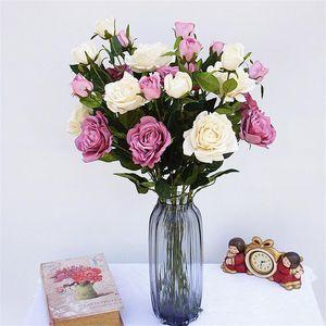 """Falso singolo stelo rosa 76 cm / 29,92 """"lunghezza rose artificiali un fiore testa e un bocciolo per la casa Natale vetrina fiori decorativi"""