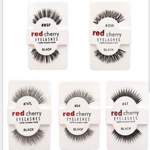 12 paare / paket Falsche Wimpern Weiche Rote Kirsche Wimpern Menschenhaar Wimpern Make-Up Schönheit Werkzeuge Wimpernverlängerung