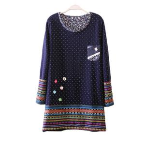 Al por mayor-otoño invierno T Shirt vestido más el tamaño de terciopelo grueso vestido de maternidad ropa de manga larga de las mujeres de la camiseta caliente tops Vestido Robe