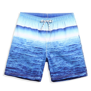 men beach board shorts casual loose BLUE Sea Pattern holiday seaside swimming shorts swimwear male summer clothing