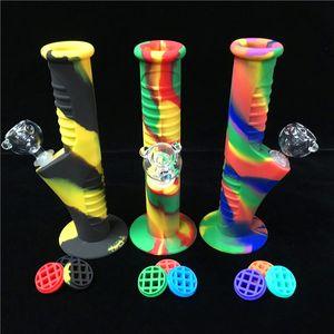 силикон бом мазок установки труба бонги курения 9,5 дюймов десять цветов С 14.mm Совместных стеклами наборов Водопроводных трубами Unbreakable Bongs Bubbler труба